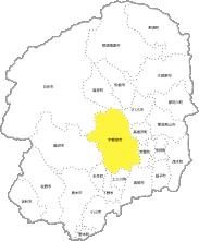 栃木県内の宇都宮市の位置