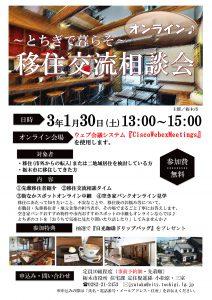 栃木市オンライン移住交流相談会案内チラシ表面